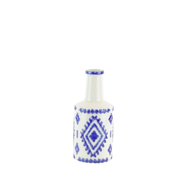 decorative Ceramic Bottle Vase with Tribal Pattern, White and Blue