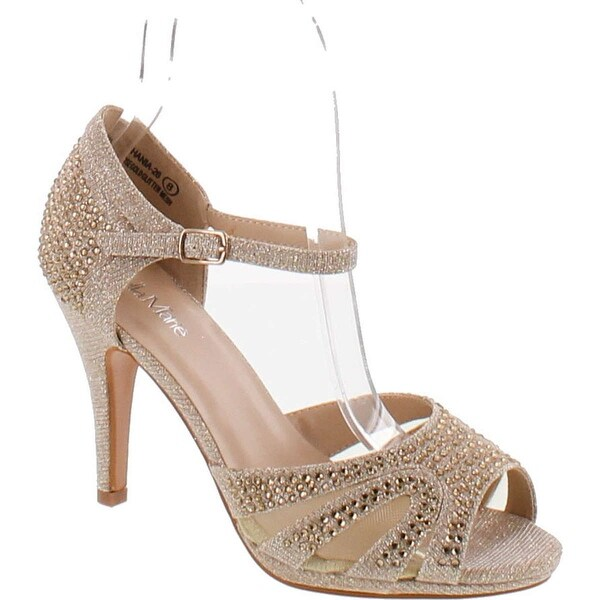 Bella Marie Shania-26 Women's Peep Toe Rhinestone Glitter Strappy Mesh Dance Sandals