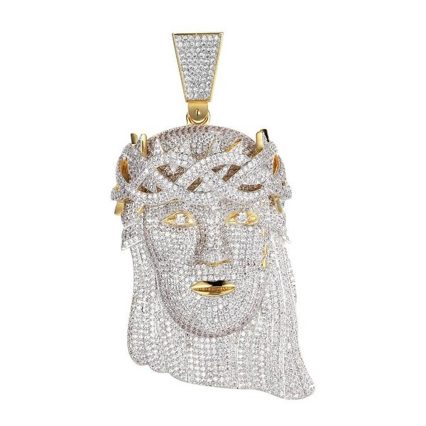 "Men Hip Hop Gold Tone Full Iced Out Jesus Piece Pendant 4.0"" Lab Diamond"