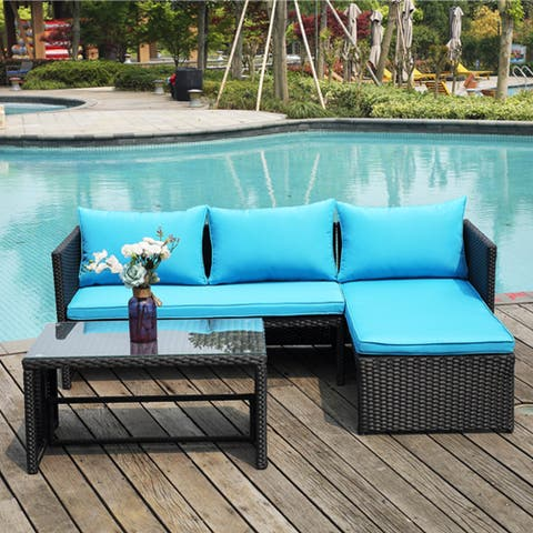 Outdoor 3 Piece Patio Conversation Wicker Lounge Sofa Set with Cushions