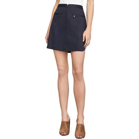 BCBG Max Azria Womens Jania Mini Skirt Zip-Front High Rise