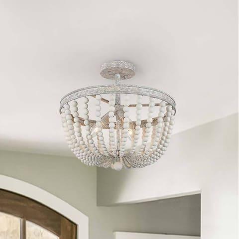 "Farmhouse Boho 3-light Wood Beads Handcrafted Chandelier Living/ Dining Room Semi Flush Mount - D16.1""x H13.4"""