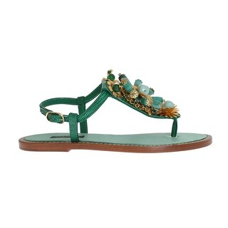 Dolce & Gabbana Dolce & Gabbana Green Leather Crystal Flip Flops Sandals