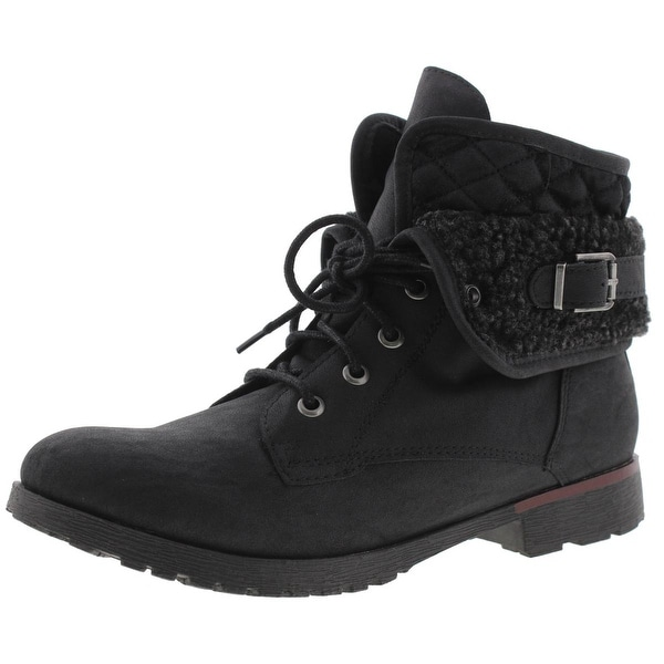 Rock and Candy by Zigi Womens Quilted Combat Boots Faux Leather Fold Over