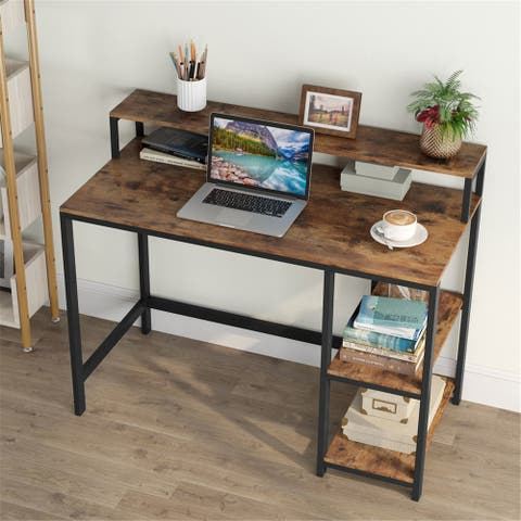 Computer Workstations Writing Desk with StorageShelves