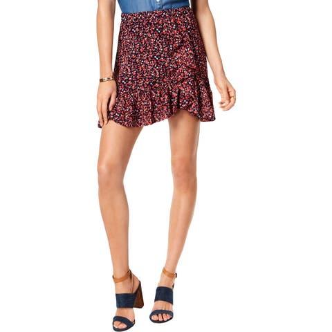 MICHAEL Michael Kors Womens A-Line Skirt Ruffled Floral Print