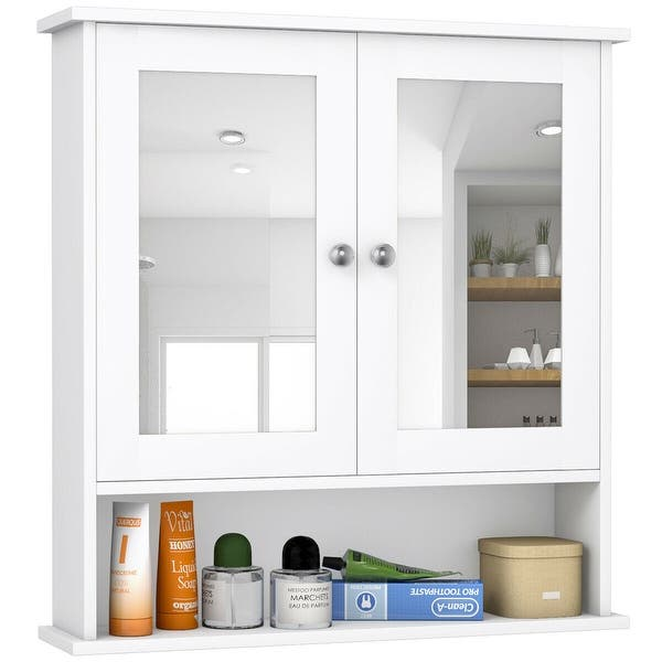 Costway New Bathroom Wall Cabinet Double Mirror Door Cupboard Storage - On Sale - Overstock - 18242566