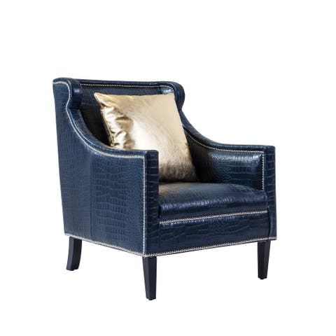 Pasargad Home Bergdorf Collection Leather Armchair, Blue - W29xD31XH24""