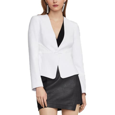 BCBG Max Azria Womens Blazer Twist Front Suit Separate - Optic White