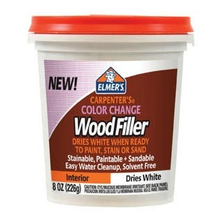 Elmer's E916 Color Change Interior Wood Filler, 8 Oz, White|https://ak1.ostkcdn.com/images/products/is/images/direct/6389a27b3487831fef3f2c4a2346fcff96ec39b7/Elmer%27s-E916-Color-Change-Interior-Wood-Filler%2C-8-Oz%2C-White.jpg?impolicy=medium