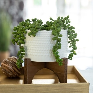 """Link to 5""""  Hobnail Ceramic Planter on Wood Stand Similar Items in Planters, Hangers & Stands"""