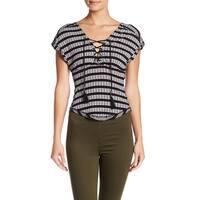We The Free Black Women's Size Medium M Lace Up Stripe Knit Top