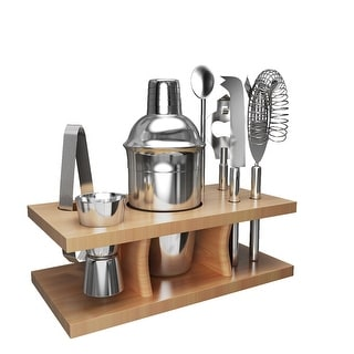 Costway Stainless Steel Cocktail Shaker Mixer Drink Bartender Martini Tools Bar Set Kit - Silver