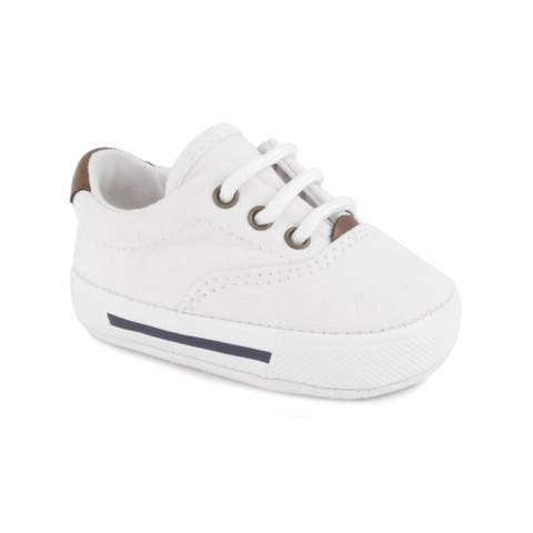 Baby Deer Boys White Canvas Lace-Up Soft Sole Casual Sneakers