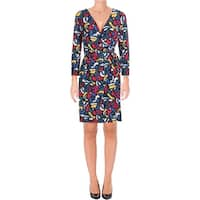 Anne Klein Womens Wear to Work Dress Printed Faux Wrap