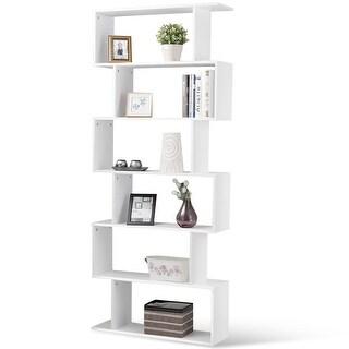 6-Tier S-Shaped Bookcase Z-Shelf Style Storage Bookshelf-White