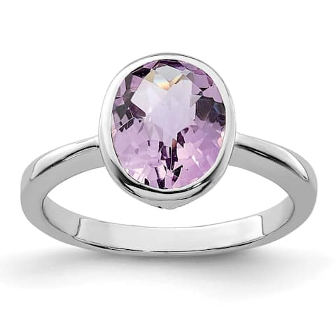 Sterling Silver Rhodium-plated Oval Pink Quartz Ring by Versil