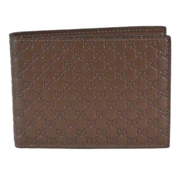 879b4d669d20 Gucci Men's 278596 Acero Brown Micro GG Guccissima Large Bifold Wallet  -