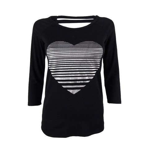 Material Girl Juniors' Strappy Back Heart Print Top - Classic Black - XS