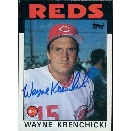 Signed Krenchicki Wayne Cincinnati Reds 1986 Topps Baseball Card Autographed