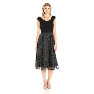 Alex Evenings Petite Ribbon Embroidered Tea Length Cocktail Dress Black/Silver - 10P