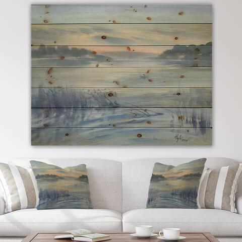 Designart 'Pastel Morning Clouds Over Awakening Lake' Lakehouse Print on Natural Pine Wood