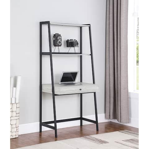 Pinckard Grey Stone Herringbone and Black 1-drawer Ladder Desk