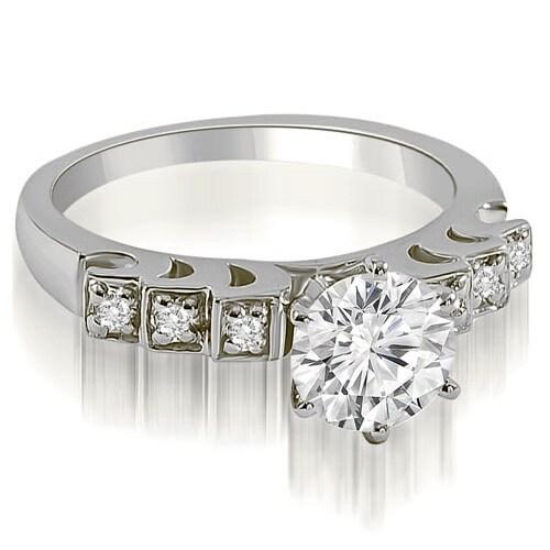 1.10 cttw. 14K White Gold Vintage Style Round Cut Diamond Engagement Ring