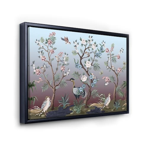 Designart 'Chinoiserie With Birds and Peonies XI' Traditional Framed Canvas Wall Art Print