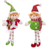 Club Pack of 12 Red and Green Elf Buddies Ornament 14""