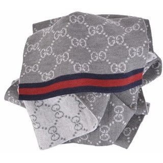 New Gucci 325806 Wool Grey Reversible GG Guccissima Blue Red Web Scarf Muffler