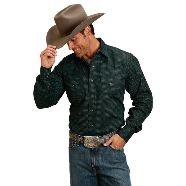0ed7411b Shop Stetson Western Shirt Mens L/S Opaque Snaps Green - Free Shipping  Today - Overstock - 18417162