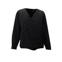 e53eb8f553 Alfani Women's Plus Size Embellished Faux-Wrap Top (22W, Deep Black) -