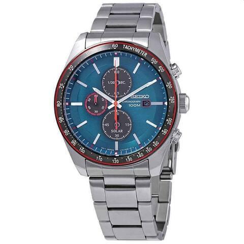 Seiko Men's SSC717 'Solar Chronograph' Chronograph Stainless Steel Watch - Blue