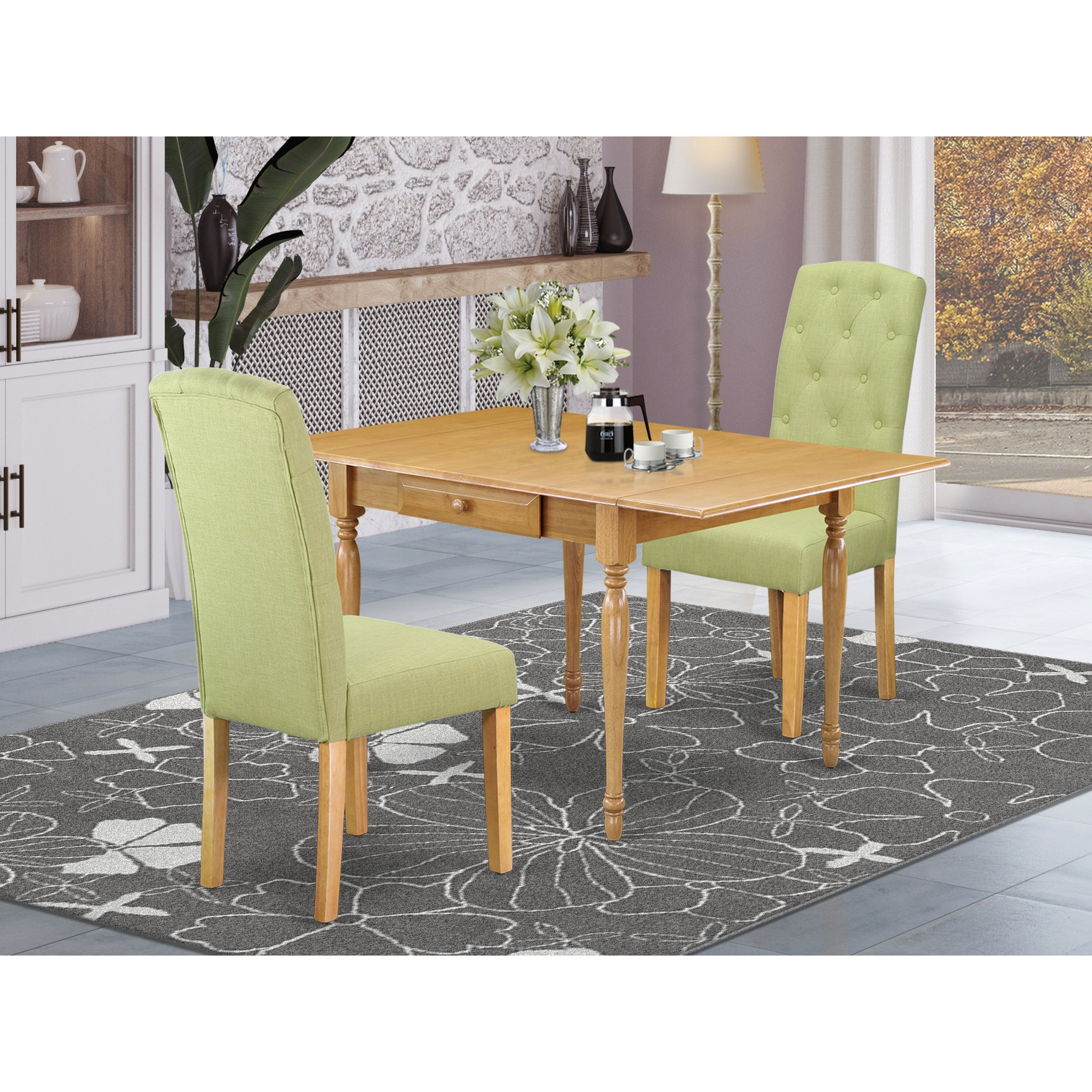 Small Dining Table And Parson Chairs With Lime Green Color Linen Fabric Upholstery Seat Number Of Chairs Option Overstock 32448866