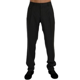 Dolce & Gabbana Dolce & Gabbana Gray Striped Wool Stretch Formal Pants