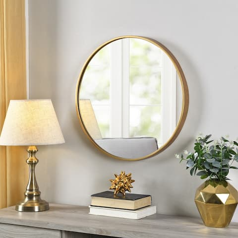 FirsTime & Co.® Gold Beckham Round Mirror, American Crafted, Gold, Mirror, 22 x 1.75 x 22 in - 22 x 1.75 x 22 in