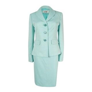 Le Suit Women's Three-Button Tweed Skirt Suit - Blue Topaz