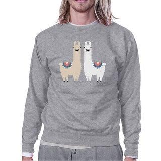 Llama Pattern Mens/Unisex Grey Fleece Sweatshirt