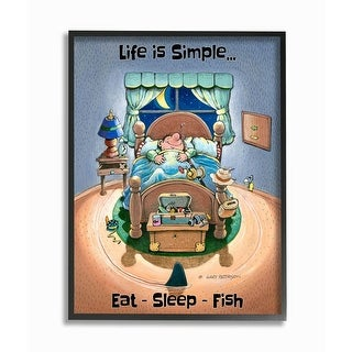 Link to Stupell Industries Eat Sleep Fish Funny Sports Fishing Cartoon Design Framed Wall Art Similar Items in Canvas Art