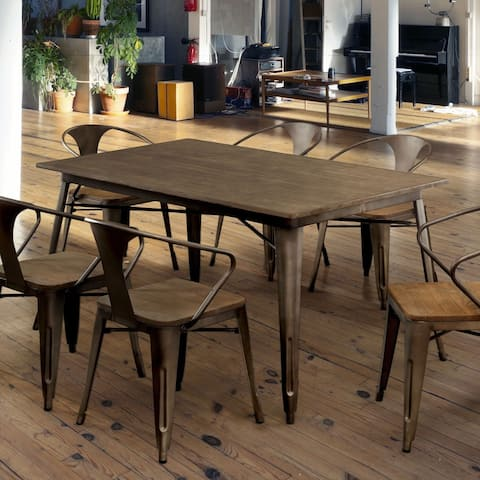 Furniture of America Rish Industrial Brown 60-inch Metal Dining Table