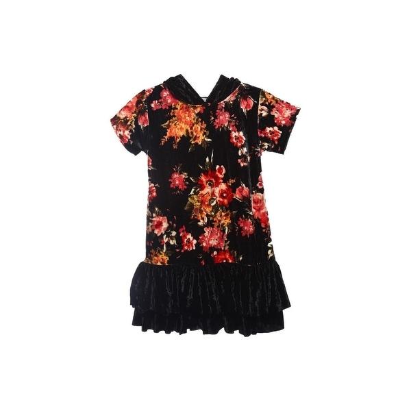 e41c402fff963 Shop Kids Dream Girls Black Red Velvet Floral Back To School Dress ...