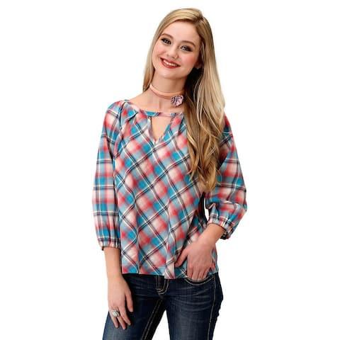 Roper Western Shirt Womens 3/4 Raglan Sleeve Red