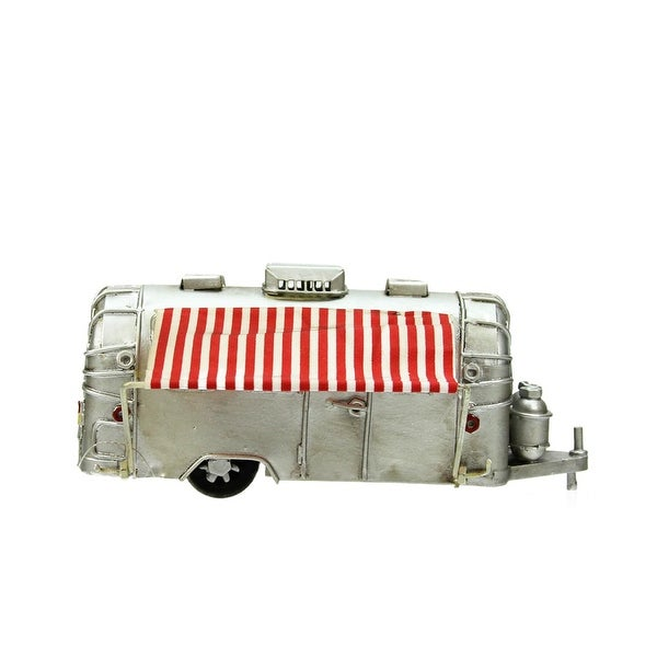 "6.5"" Silver Vintage Style Camper with Red and White Striped Awning Christmas Village Accessory"