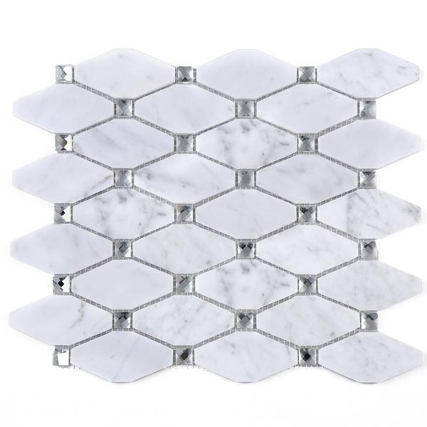 TileGen. Long Diamond Shape Cyrstal Marble Mosaic Tile in White Carrara Floor and Wall Tile (10 sheets/11sqft.). Opens flyout.