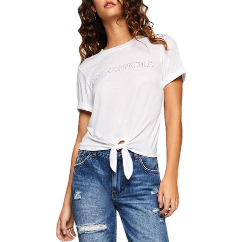 BCBGeneration Womens Graphic T-Shirt Rolled Sleeves Graphic