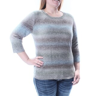 Womens Gray Short Sleeve Jewel Neck Casual Sweater Size S