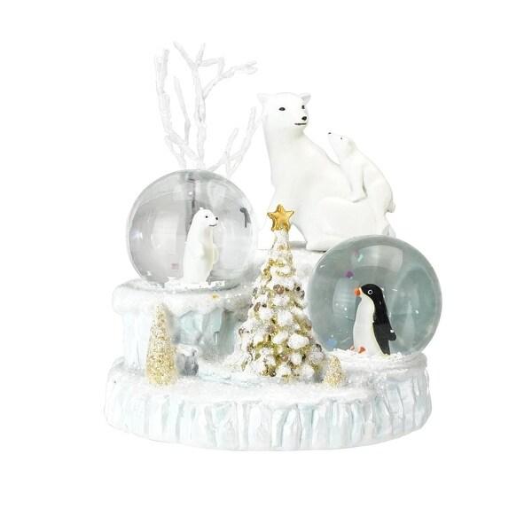 "4.5"" White Glittered Polar Bear Resin Mini Double Christmas Snow Globe Glitterdome"