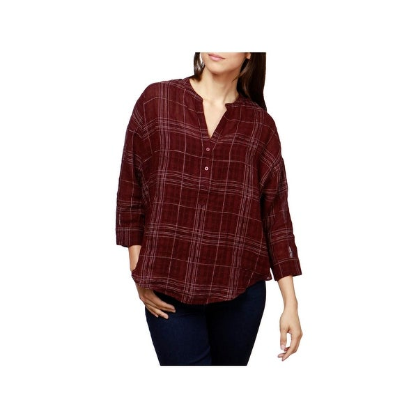 Lucky Brand Womens Button-Down Top Plaid V-Neck