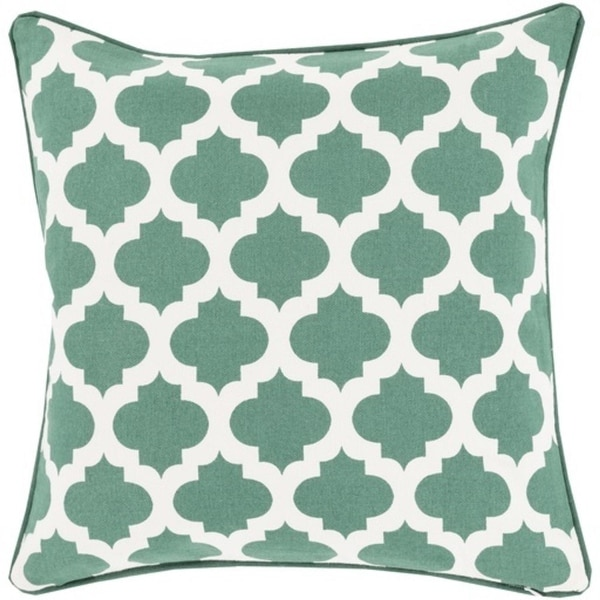 "20"" Emerald Kelly Green and Ivory Mesmerizing Morrocan Decorative Throw Pillow"